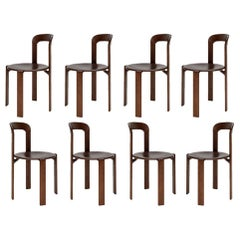 Mid-Century Modern, 8 Rey Chairs by Bruno Rey, Color Vintage Walnut, Design 1971