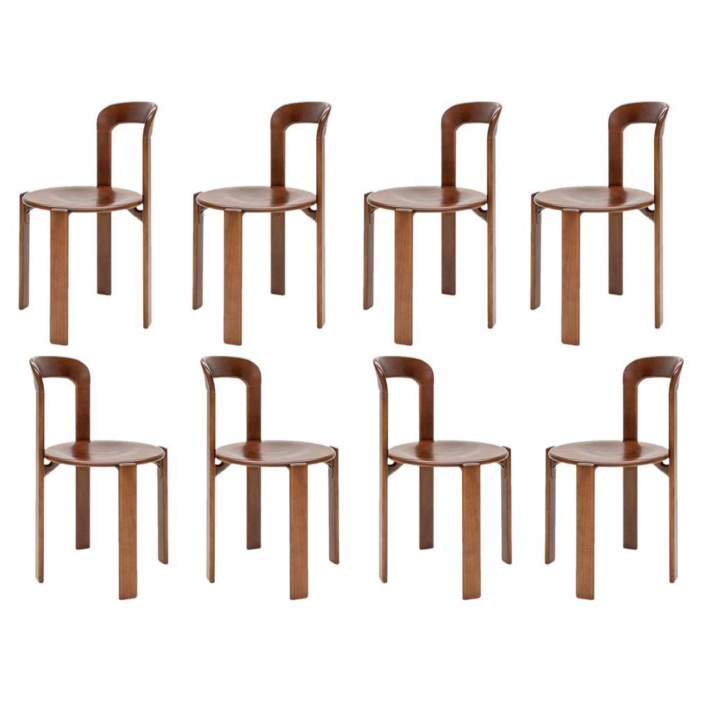 Mid-Century Modern, 8 Rey Chairs, Color Vintage Chestnut, Bruno Rey Design 1971