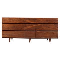 Mid-Century Modern 9-Drawer Walnut Dresser by American of Martinsville