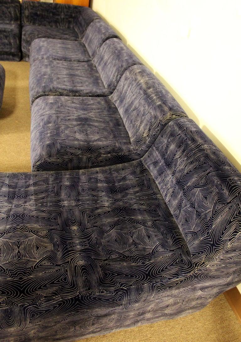 Mid Century Modern 9 Piece Modular Serpentine Preview Blue