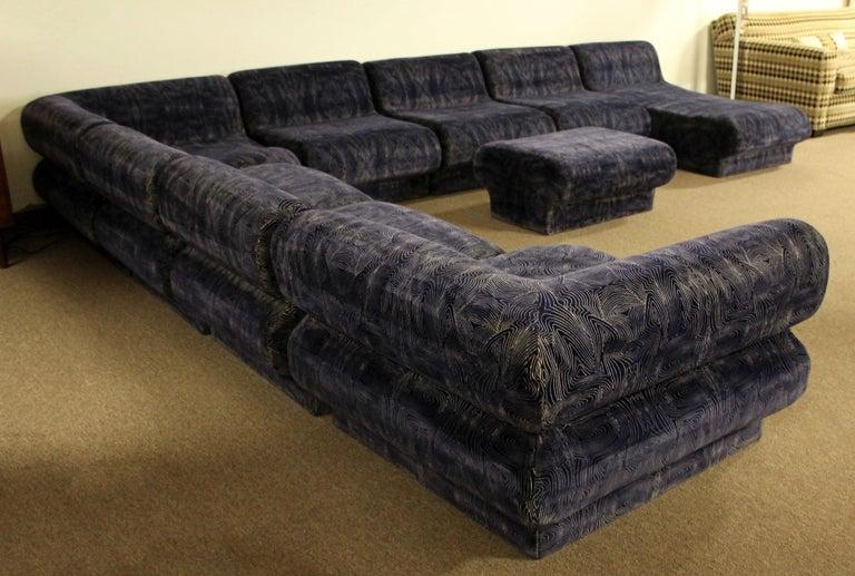 Mid-Century Modern 9-Piece Modular Serpentine Preview Blue Velvet Sectional Sofa For Sale 3