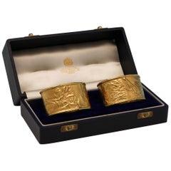 Mid-Century Modern 9ct Gold Pair of Napkin Rings Using the Samorodok Technique