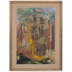Mid-Century Modern Abstract Art, Oil on Board, Signed 1962