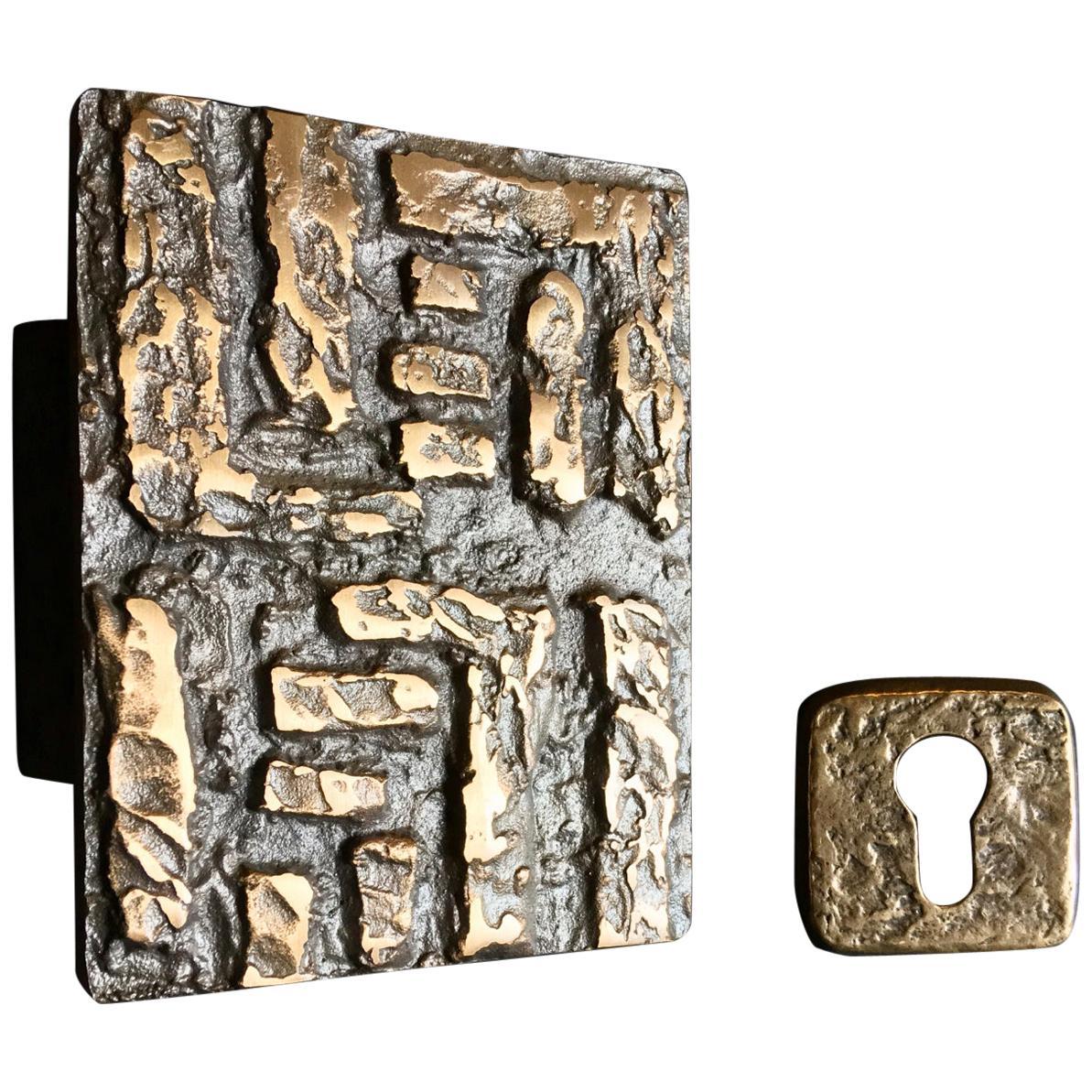 Mid-Century Modern Abstract Bronze Door Handle and Escutcheon, European, 1960s