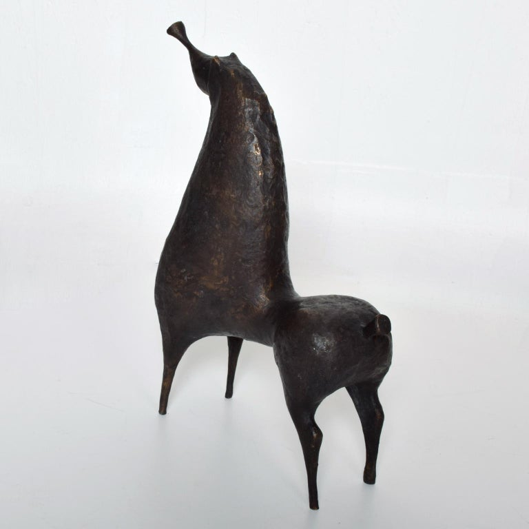 Patinated Mid-Century Modern Abstract Bronze Horse Sculpture by Ramon Prats For Sale