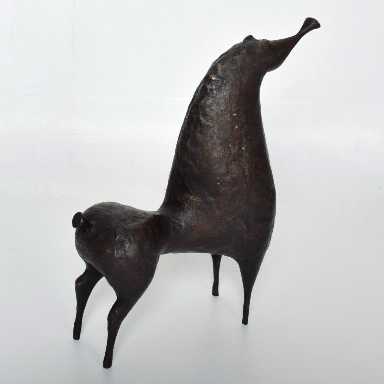 Mid-Century Modern Abstract Bronze Horse Sculpture by Ramon Prats For Sale 1