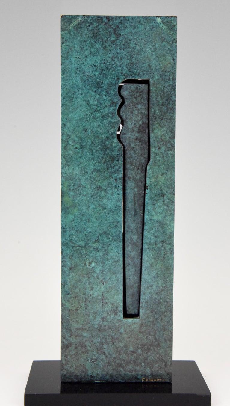 Spanish Mid-Century Modern Abstract Bronze Sculpture 1970 Felix Villamor For Sale