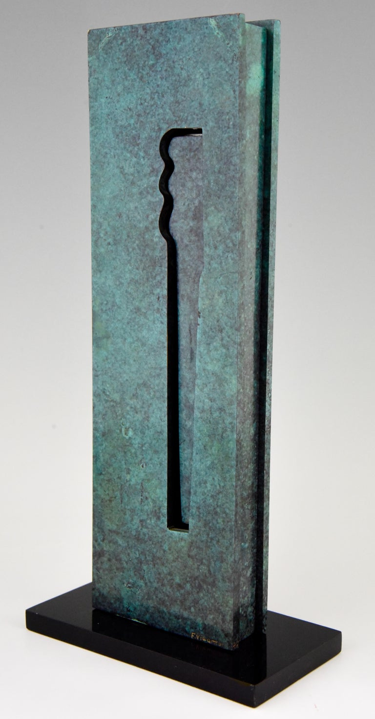 Mid-Century Modern Abstract Bronze Sculpture 1970 Felix Villamor For Sale 1