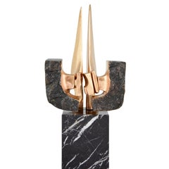 Mid-Century Modern Abstract Bronze Sculpture, 1970, Pepe Autoais