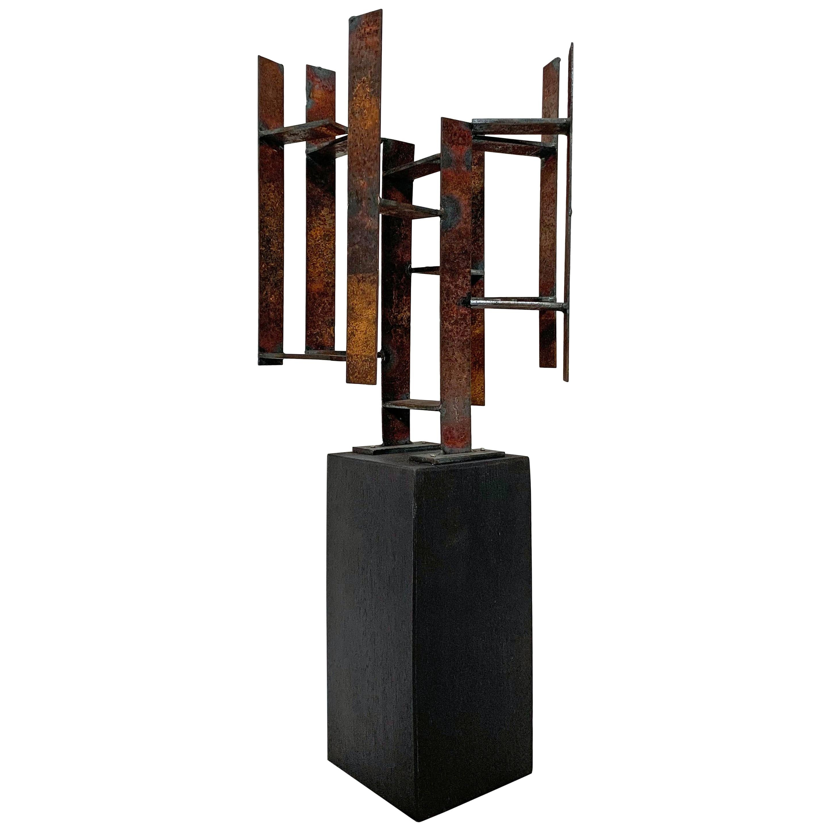 Mid-Century Modern Abstract Brutalist Welded Steel Sculpture by John Livermore