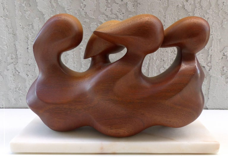 Mid-Century Modern Abstract Carved Mahogany Figurative Sculpture, Signed In Good Condition For Sale In Miami, FL