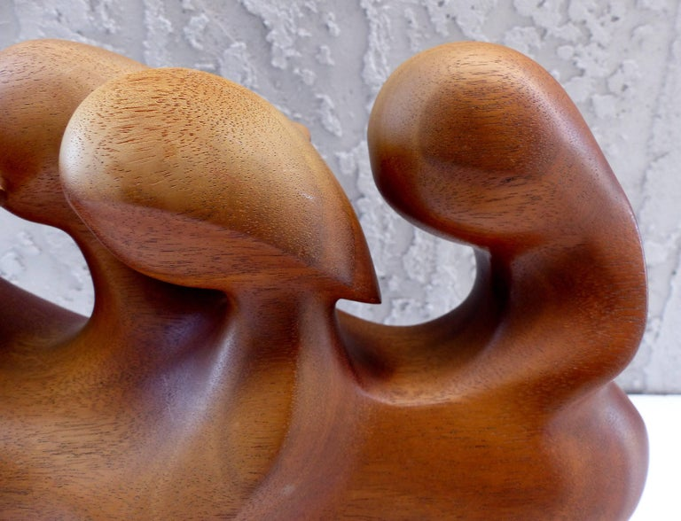 Marble Mid-Century Modern Abstract Carved Mahogany Figurative Sculpture, Signed For Sale