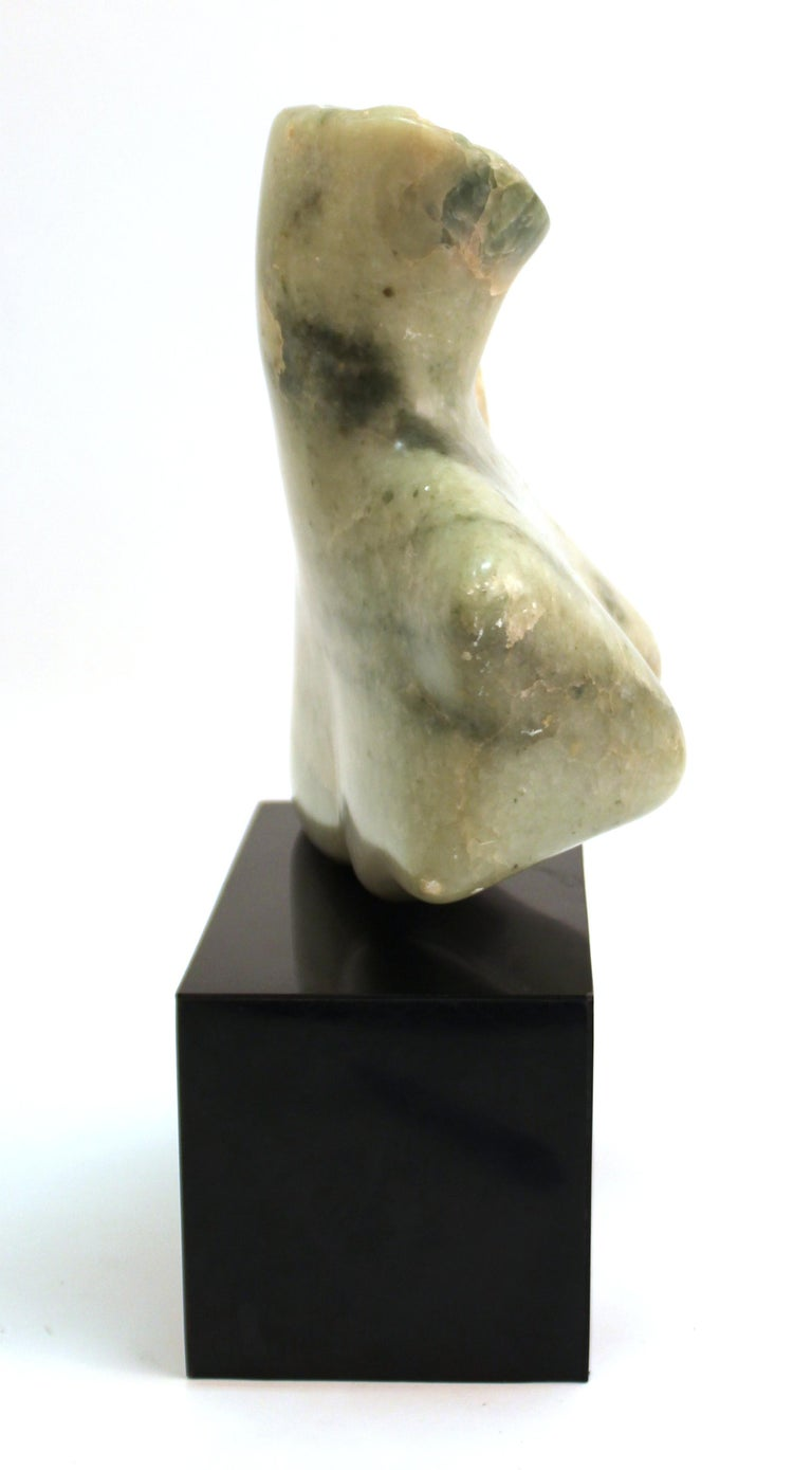Mid-Century Modern Abstract Carved Stone Female Bust Sculpture In Good Condition For Sale In New York, NY
