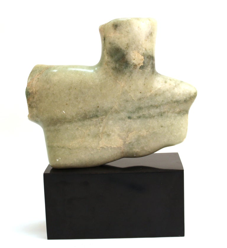 20th Century Mid-Century Modern Abstract Carved Stone Female Bust Sculpture For Sale