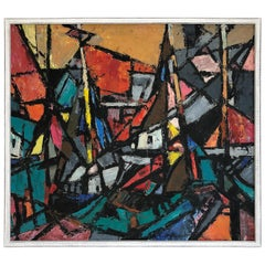 Mid-Century Modernist Abstract Painting by Sylvia Leiferman