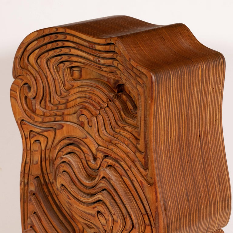 Mid-Century Modern Abstract Dynamic Olive Wood Puzzle Sculpture For Sale 4