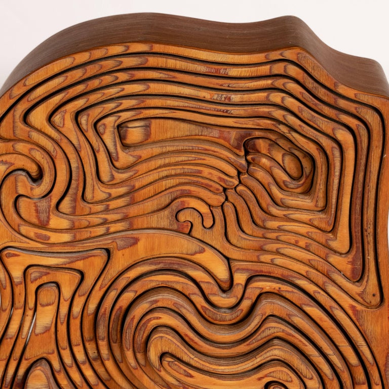 Mid-Century Modern Abstract Dynamic Olive Wood Puzzle Sculpture For Sale 5