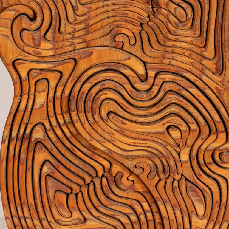 Mid-Century Modern Abstract Dynamic Olive Wood Puzzle Sculpture For Sale 6