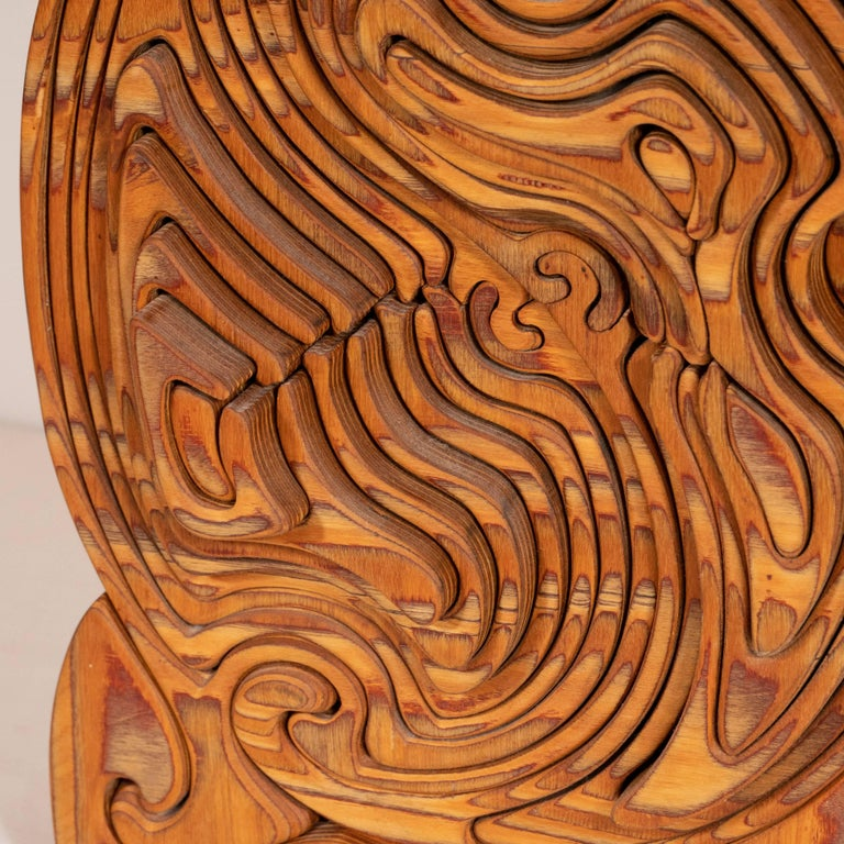 Mid-Century Modern Abstract Dynamic Olive Wood Puzzle Sculpture For Sale 7