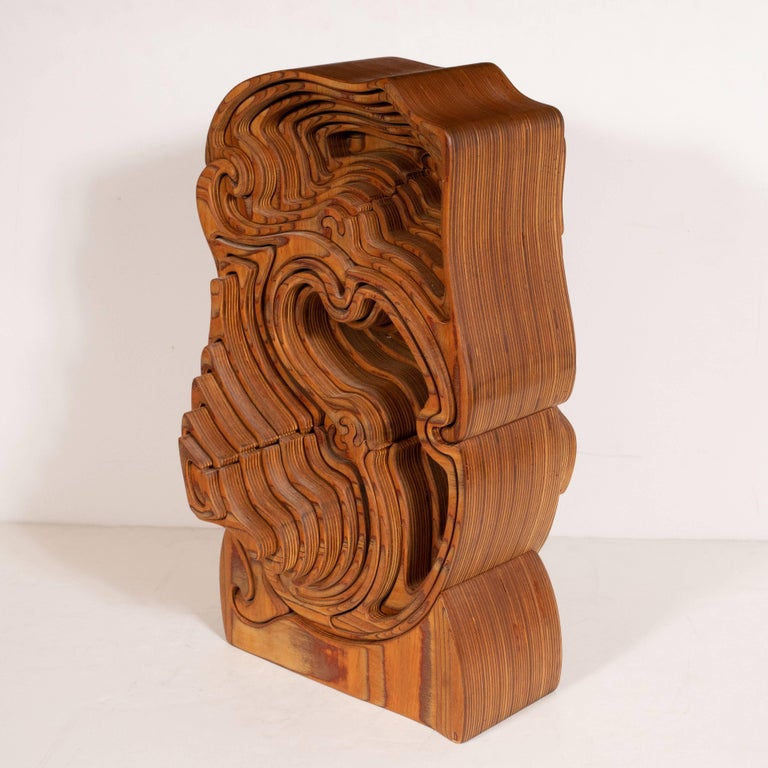 American Mid-Century Modern Abstract Dynamic Olive Wood Puzzle Sculpture For Sale