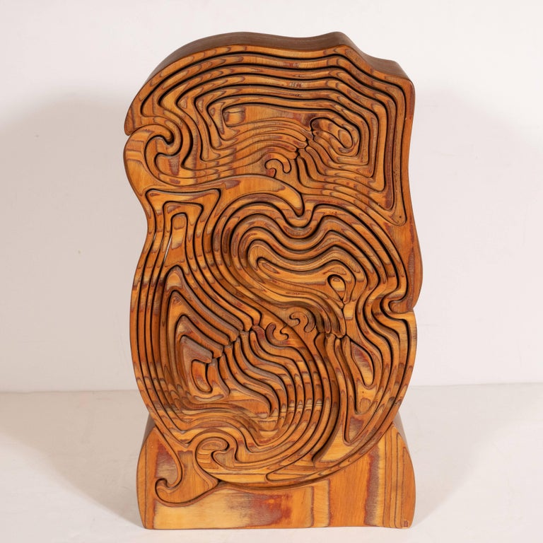 Carved Mid-Century Modern Abstract Dynamic Olive Wood Puzzle Sculpture For Sale