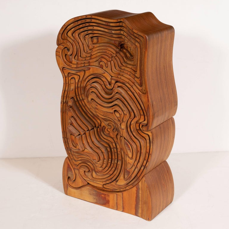 Mid-Century Modern Abstract Dynamic Olive Wood Puzzle Sculpture In Excellent Condition For Sale In New York, NY