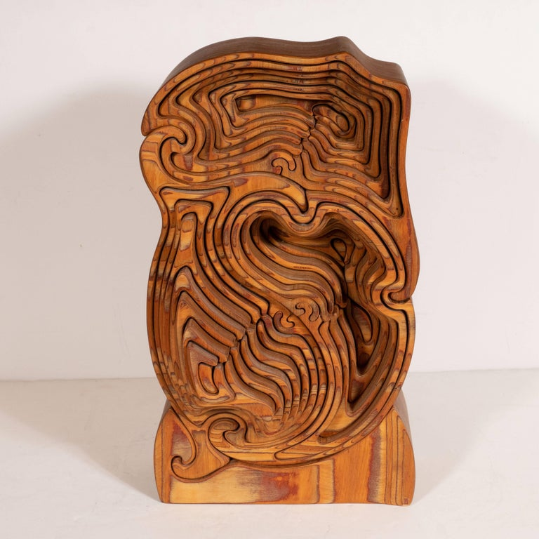 Late 20th Century Mid-Century Modern Abstract Dynamic Olive Wood Puzzle Sculpture For Sale