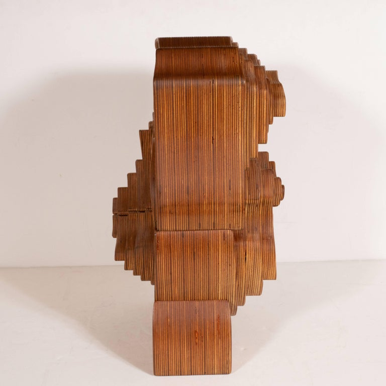Mid-Century Modern Abstract Dynamic Olive Wood Puzzle Sculpture For Sale 1