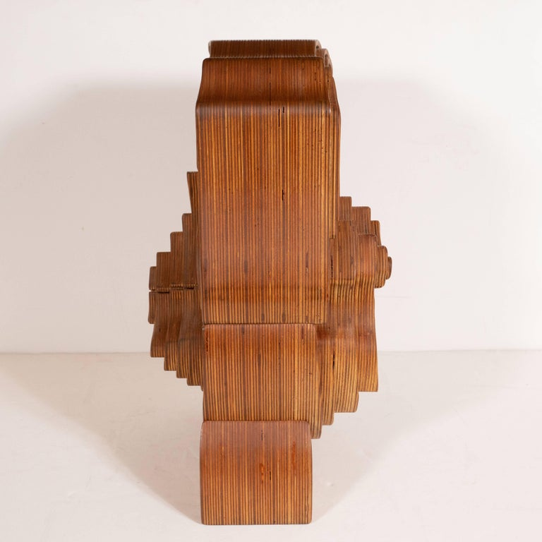 Mid-Century Modern Abstract Dynamic Olive Wood Puzzle Sculpture For Sale 2