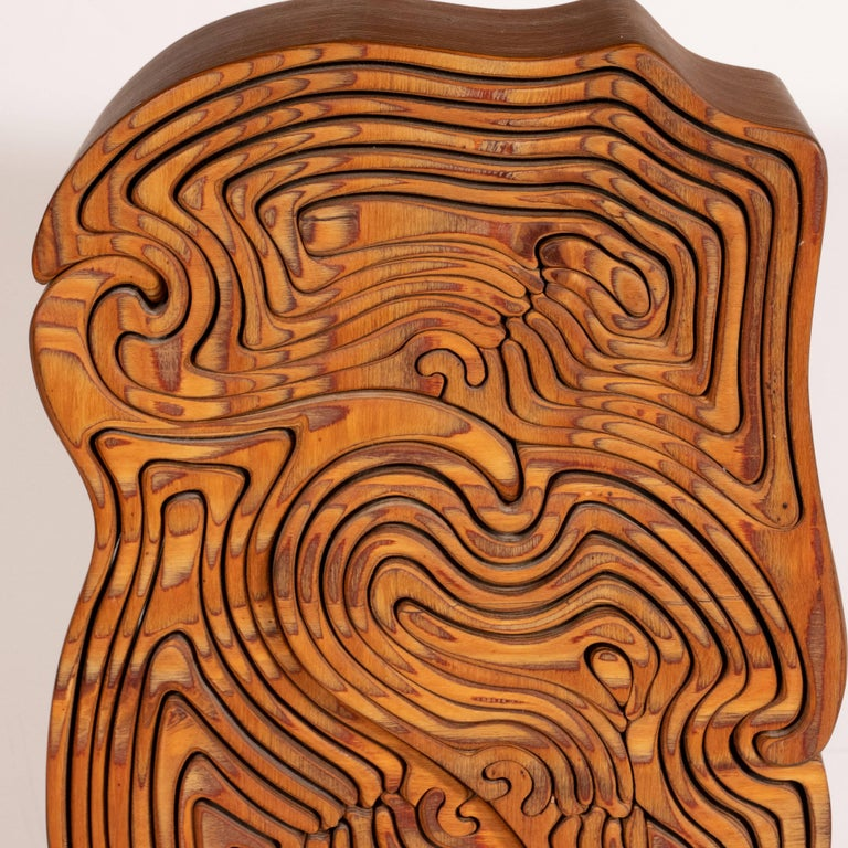 Mid-Century Modern Abstract Dynamic Olive Wood Puzzle Sculpture For Sale 3