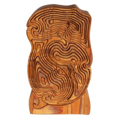 Mid-Century Modern Abstract Dynamic Olive Wood Puzzle Sculpture