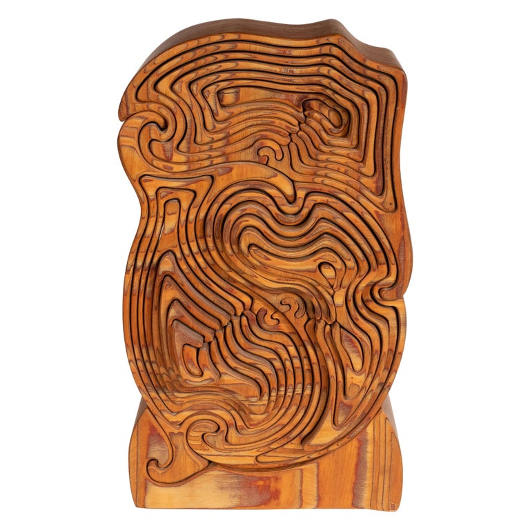 Mid-Century Modern Abstract Dynamic Olive Wood Puzzle Sculpture For Sale