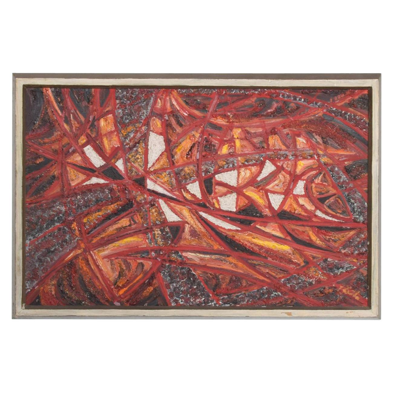 Mid-Century Modern Abstract European Oil on Canvas Painting, 1966