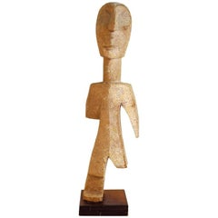 Mid-Century Modern Abstract Figural Wood Sculpture with One Leg