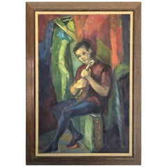 Mid-Century Modern Abstract Figurative Oil Painting of a Boy and Mandolin