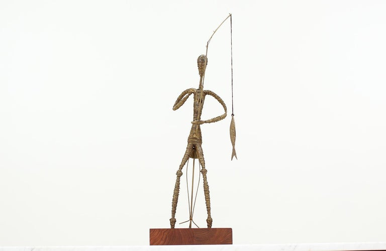 Mid-Century Modern Abstract Fisherman Sculpture For Sale 4