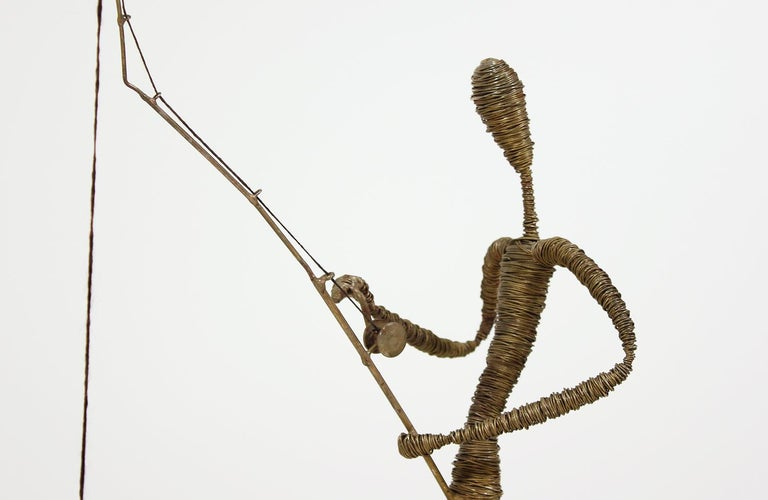 American Mid-Century Modern Abstract Fisherman Sculpture For Sale