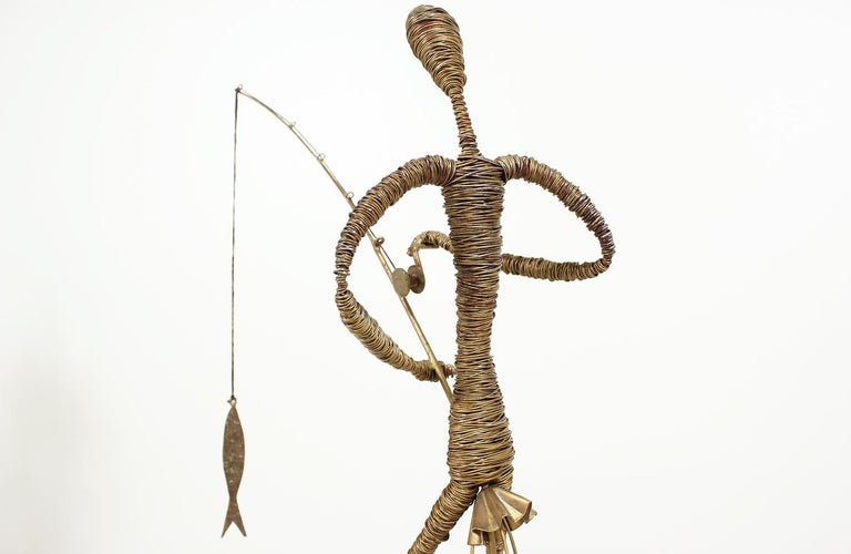 Mid-Century Modern Abstract Fisherman Sculpture For Sale 2