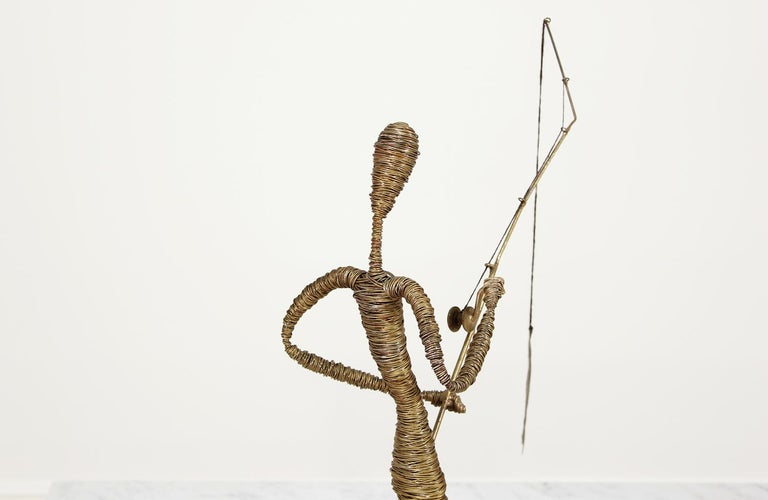 Mid-Century Modern Abstract Fisherman Sculpture For Sale 3
