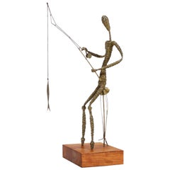 Mid-Century Modern Abstract Fisherman Sculpture