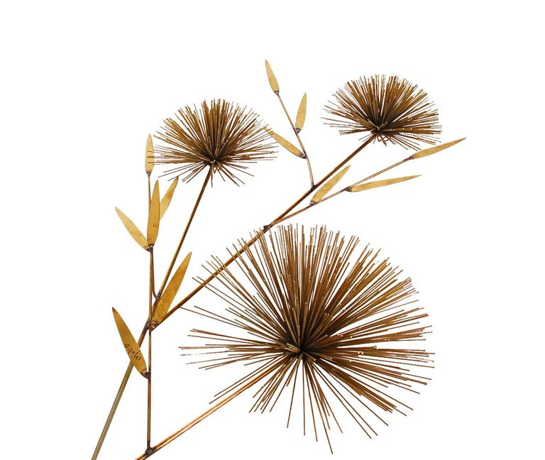 American Mid-Century Modern Abstract Gold Brass Pom Pom Wall Sculpture by Curtis Jere For Sale