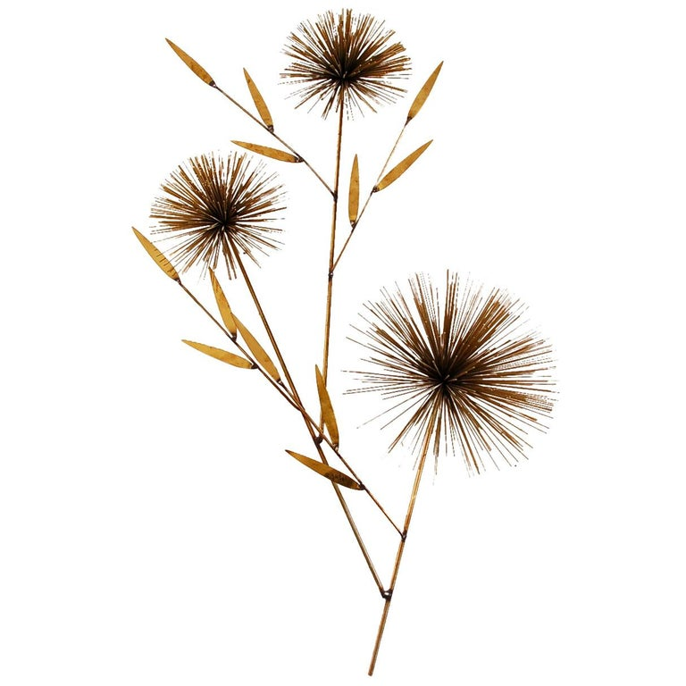 Mid-Century Modern Abstract Gold Brass Pom Pom Wall Sculpture by Curtis Jere For Sale