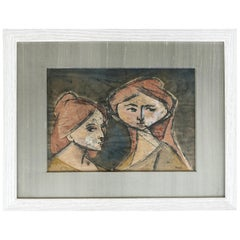 Mid-Century Modern Abstract Gouache Portrait Painting of Two Women