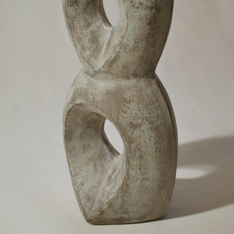 Mid-Century Modern Abstract Grey Ceramic Sculpture In Excellent Condition For Sale In London, GB