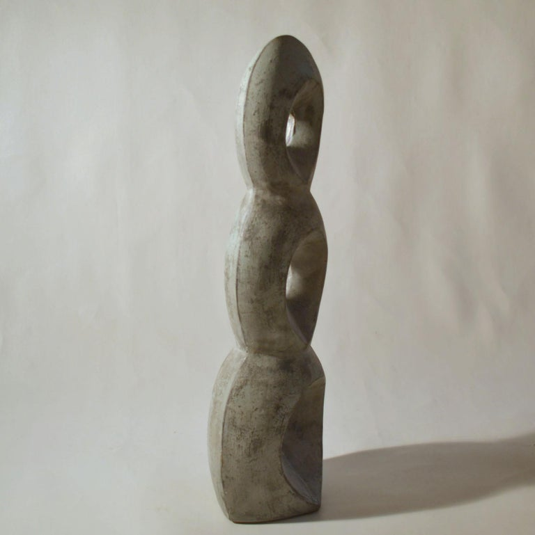Mid-20th Century Mid-Century Modern Abstract Grey Ceramic Sculpture For Sale