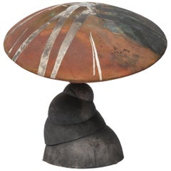 Mid-Century Modern Abstract Handmade Raku Ceramic Mushroom Sculpture