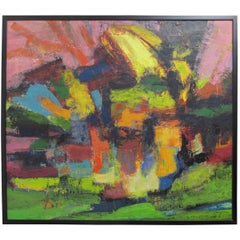 Mid-Century Modern Abstract Impressionist Painting, American circa 1960s