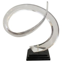 Mid-Century Modern Abstract Lucite Swirl on Stone Base