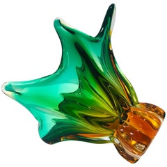 Mid-Century Modern Abstract Murano Glass Vase in Green and Gold, Italy c. 1950s