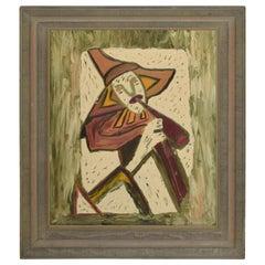 Mid-Century Modern Abstract Oil on Canvas Board Velma Blume, 1968